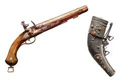 Dwa roczników antyka pistolet odizolowywający na białym tle Zdjęcia Royalty Free