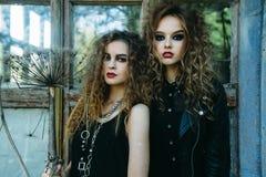 Dwa rocznik kobiety jako czarownicy Obrazy Stock