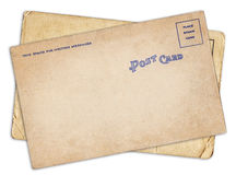 Dwa rocznika pusta stara pocztówka odizolowywająca Fotografia Stock