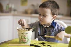 Dwa roku chłopiec ogrodnictwa puszkuje rośliny Fotografia Royalty Free