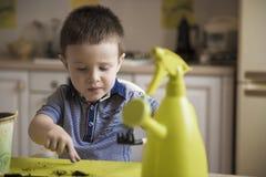 Dwa roku chłopiec ogrodnictwa puszkuje rośliny Obraz Stock