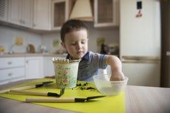 Dwa roku chłopiec ogrodnictwa puszkuje rośliny Fotografia Stock