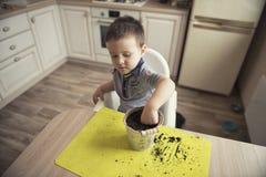 Dwa roku chłopiec ogrodnictwa puszkuje rośliny Obrazy Stock