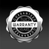 Dwa roku gwarancji srebra odznaki odizolowywającej na białym tle gwaranci etykietki sprzedaży setu wektor royalty ilustracja