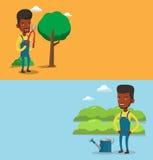 Dwa rolniczego sztandaru z przestrzenią dla teksta ilustracji
