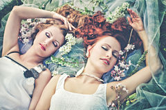 Dwa romantyczna dziewczyna w wiośnie Zdjęcia Royalty Free