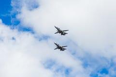 Dwa Rosyjskiego szturmowego samolotu SU 24 na wystawie Obraz Stock