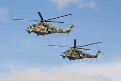 Dwa rosyjskiego wojennego helikopteru Obraz Royalty Free