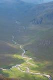 Dwa rzeki spotyka przy dolną halną doliną w Szkockim Highlan Obraz Royalty Free