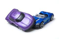 Dwa samochodów wypadek na białym tle, transport i zdjęcia royalty free