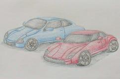 Dwa samochodu wyścigowego Zdjęcie Royalty Free