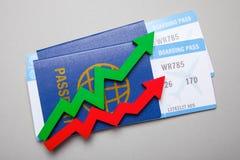 Dwa samolotowego bileta z paszportami i strzała strzała czerwieni i zieleni Wzrost w sprzedażach lotniczy bilety w sezonie Fotografia Royalty Free