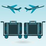 Dwa samolotowy brać daleko, bagaż dla podróży royalty ilustracja