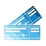Dwa samolotowych biletów ikona Fotografia Stock