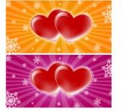 Dwa serc sztandar Zdjęcie Stock