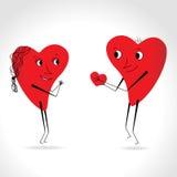 Dwa serc whit ciało i twarz - daje sercu - Zdjęcia Royalty Free