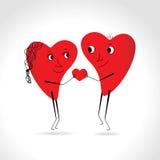 Dwa serc whit ciało i twarz wektor - daje sercu - Obraz Stock