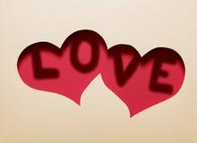 Dwa serc wycinanka w papierze z słowem Zdjęcia Royalty Free