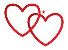 Dwa serca, łącząca czerwień, wektor Zdjęcie Royalty Free