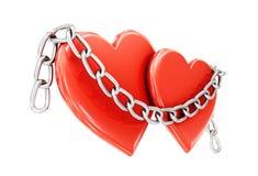 Dwa serca i łańcuch odizolowywający na białym tle 3D illustra Obraz Royalty Free
