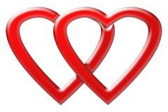 Dwa serca jednoczącego dla walentynki ` s dnia Obrazy Stock