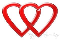 Dwa serca jednoczącego dla walentynki ` s dnia Zdjęcia Stock