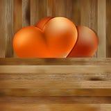 Dwa serca na brown drewnianym tle. + EPS8 Zdjęcie Stock