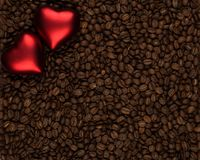 Dwa serca na kawa zakrywającym tle zdjęcia royalty free