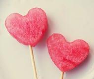 Dwa serca od melonu Zdjęcia Royalty Free