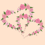 Dwa serca od róż, kontury róże, poślubia Zdjęcia Stock