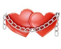 Dwa serca odskakują łańcuchem na białym tle świadczenia 3 d Zdjęcie Royalty Free