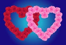 dwa serca róże Obraz Royalty Free