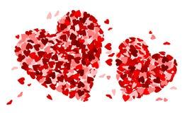 Dwa serca robić mali czerwoni serca Obrazy Royalty Free