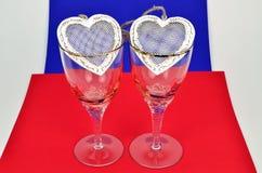 Dwa serca w szkle Obraz Royalty Free