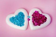 Dwa serca z kryształami Zdjęcie Royalty Free