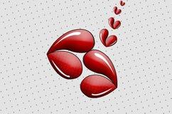 Dwa serce Kształtnej wargi Całuje wystrzał sztukę! royalty ilustracja