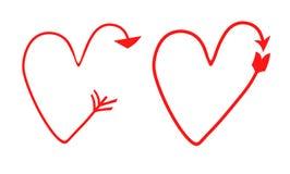 Dwa set wektorowi serca w postaci strzała pointer, symbol gradientowi rysunki ilustracja wektor