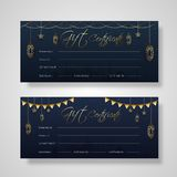 Dwa setu prezenta świadectwa karciany projekt z dekoracją złoty koloru lampion royalty ilustracja
