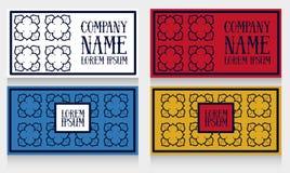Dwa setu szablony dla wizytówek z abstrakcjonistyczny ozdobnym ilustracji