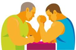 Dwa silnej atlety uczestniczą w ręki zapaśnictwa rywalizacjach ilustracja wektor