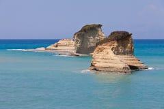 Dwa skały w morzu na Corfu Obraz Stock