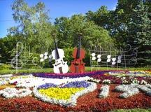 Dwa skrzypce w flowerbed w Kijów Zdjęcie Stock