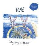 Dwa skydivers latają w Dubaj nad wyspa Palmowy Jumeirah, UAE ilustracji