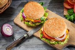 Dwa smakowitego domowej roboty hamburgeru obraz royalty free