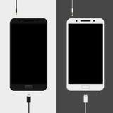 Dwa smartphones mockups, czarny i biały wersje Obrazy Royalty Free