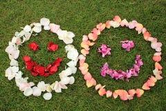 Dwa smiley twarzy emoticons od płatków wzrastali na tle Obrazy Royalty Free
