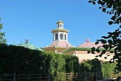 Dwa smoka na dachu chińska wioski Alexandrovsky park Pushkin miasto zdjęcia stock