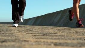 Dwa sporty kobiety jogging wpólnie zbiory wideo