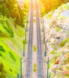 Dwa sposobu kolej w wąwozie góry na widok Obraz Royalty Free