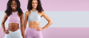 Dwa sprawności fizycznej kobiety w sportswear odizolowywającym nad szarym tłem Sporta i mody pojęcia dowcipu chopy przestrzeń zdjęcia stock